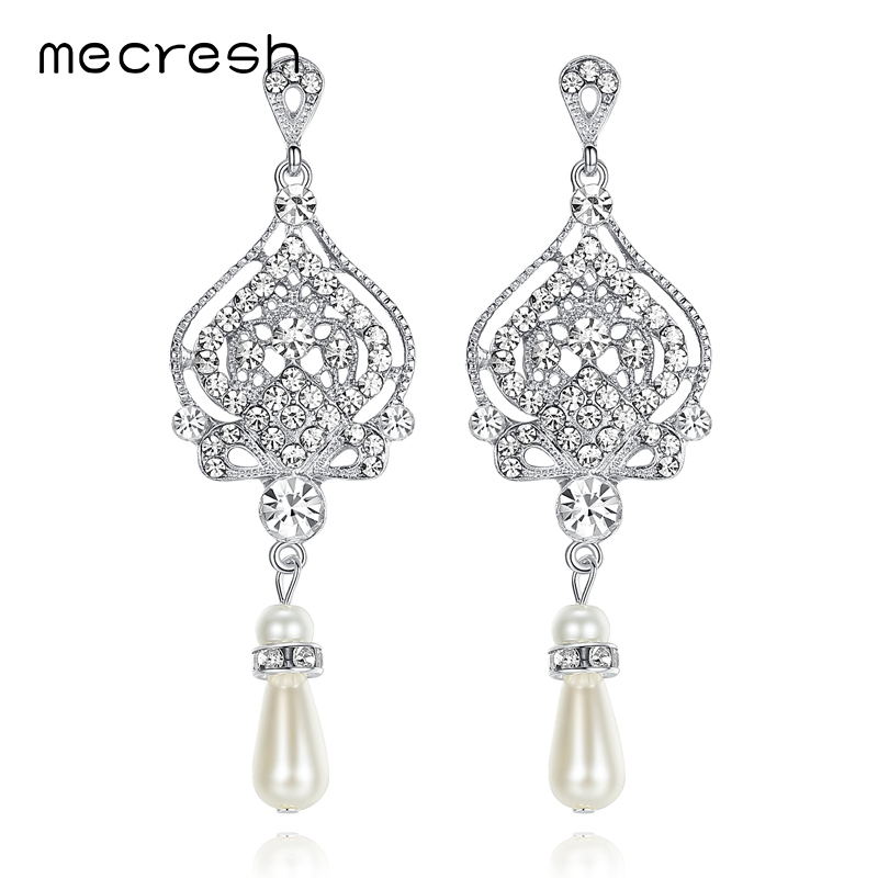 Mecresh Simulated Pearl Chandelier Wedding Earrings for Women Silver Color  Crystal Party Hanging Brincos Christmas Jewelry EH463-in Drop Earrings from  ... 249bb44747d7