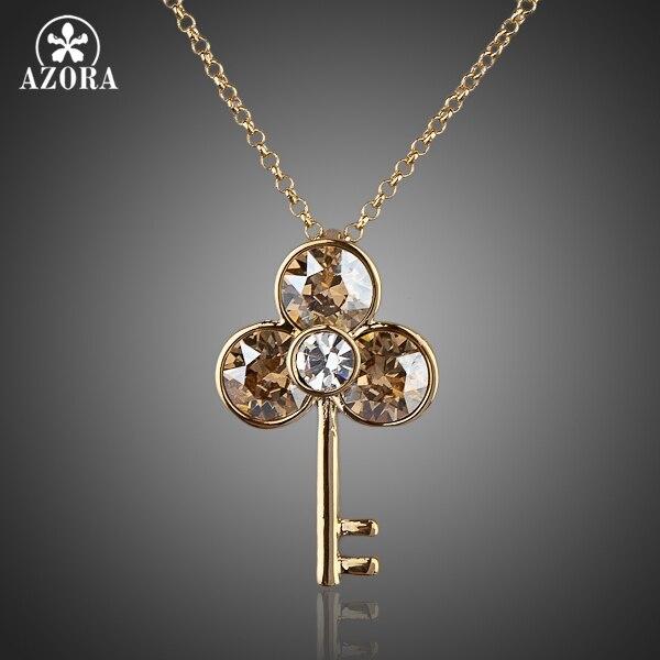 AZORA Ancient Keys Gold Color Stellux Austrian Crystal Water Drop Pendant Necklace TN0044 цена 2017