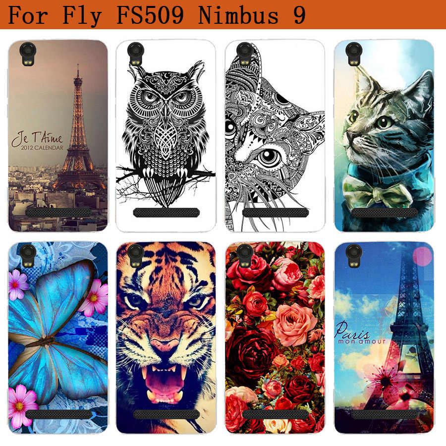 Para Fly Fs509 fundas suave Tpu Lobo Tigre búho Rosa patrón pintado funda para Fly Fs509 Nimbus 9 5,0 pulgadas Fundas teléfono transparente