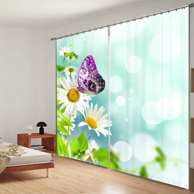 Floral Leaf Butterfly print 3D Blackout Curtains for Bedding room Living room Hotel Office Drape Cortinas Home Wall DecorativeFloral Leaf Butterfly print 3D Blackout Curtains for Bedding room Living room Hotel Office Drape Cortinas Home Wall Decorative