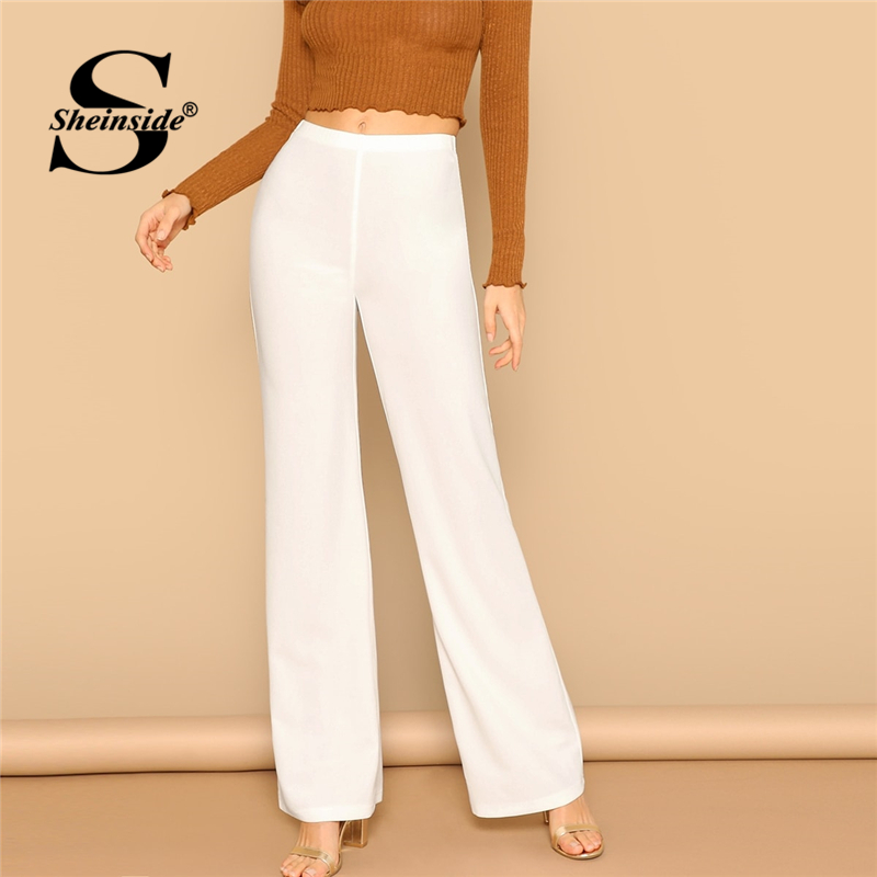 Sheinside High Waist Straight   Pants   Women Elastic Waist Workwear Office Ladies Wide Leg Trousers Womens White   Pants   &   Capris
