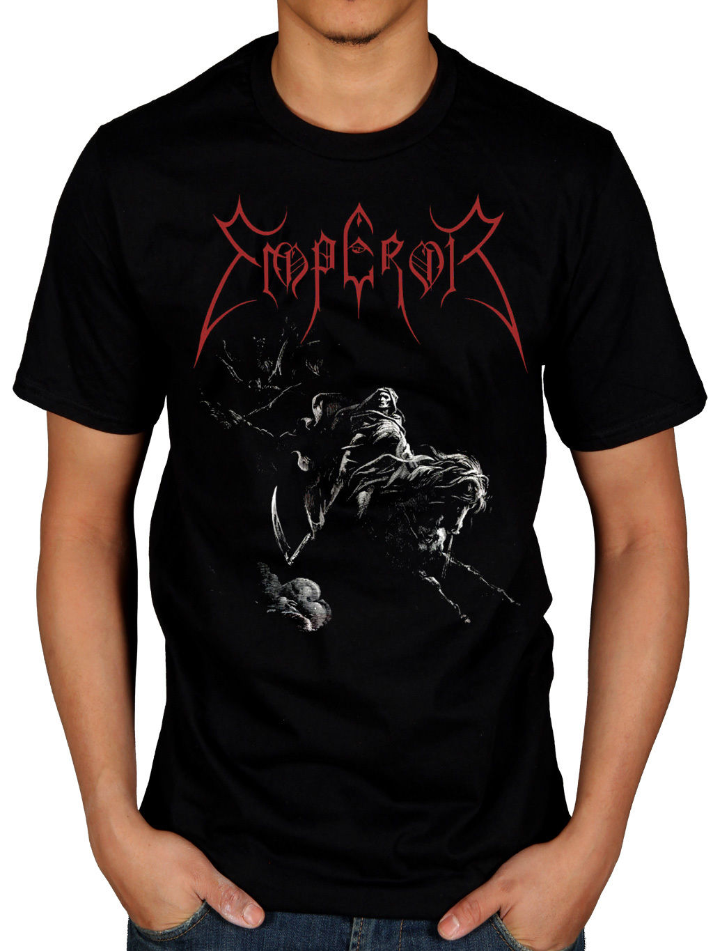 T black shirt rock - 2017 Men S Short Sleeve Emperor Rider 2005 T Shirt Rock Band Tour Merch Black Metal Design