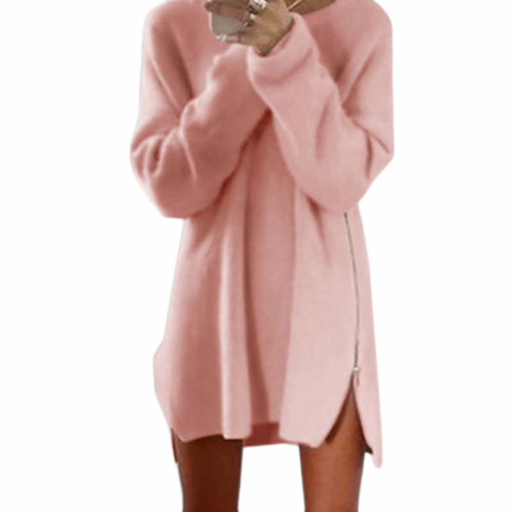 Sale 2018 Winter Sweaters Party Dresses Women Long Sleeve Jumper Tops Cotton Sweater Loose Zipper Tunic Mini Dress Vestidos in Dresses from Women 39 s Clothing