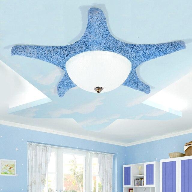 Modern Children Room Ceiling Lamp Boy Girl Cute Bedroom Lights  Mediterranean Cartoon Creative Starfish Ceiling Light