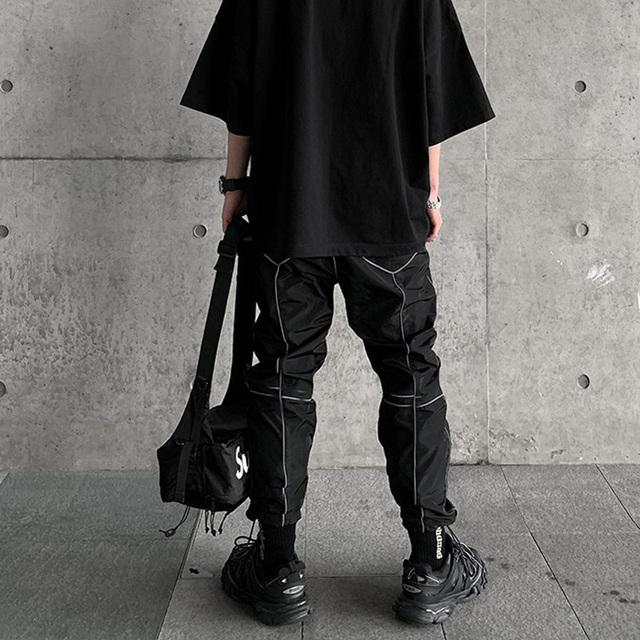 Pants Men Pockets Loose Hip Hop Sweatpants Reflective Light Long Trousers Reflector
