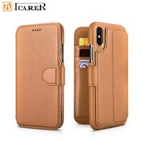 ICARER NAPPA Genuine Leather Cover Luxury Wallet Folio Case For iPhone XS 2 in 1 Magnetic Back Case