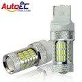 2x LED T20 7440 W21W AutoEC 56smd 4014 6000 k Cauda Parar acende as Luzes de Sinalização de Estacionamento Lamp Bulb Pure White DC 12 V 24 V # LD22