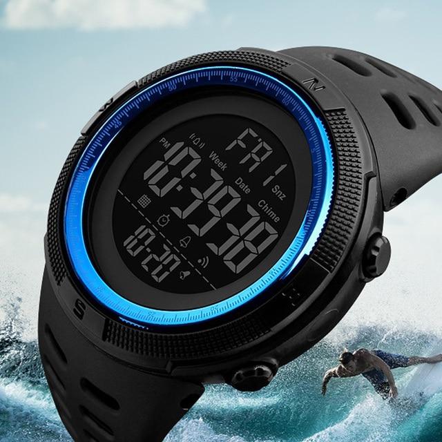 Skmei Marca De Luxo Mens Relógios Desportivos Mergulho 50 m Eletrônica Digital LED Relógio Militar Moda Masculina Casual Relógios de Pulso Relojes