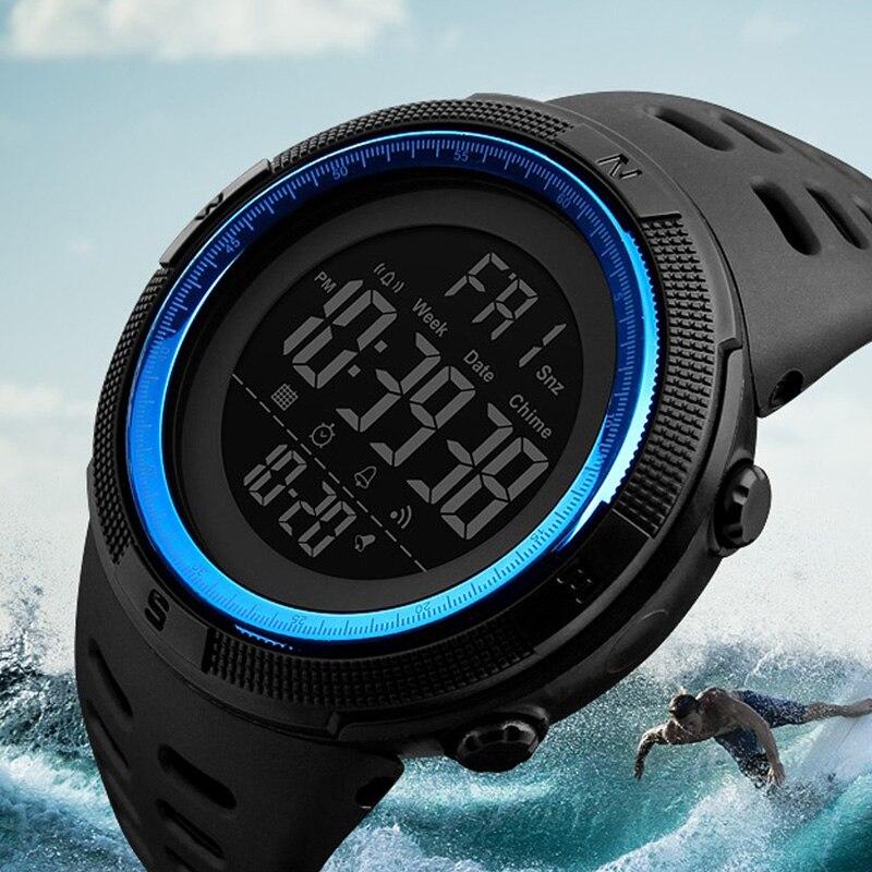 Skmei Marca de Luxo Esportes Dos Homens Relógios de Mergulho 50 m Eletrônica Digital LED Relógio Militar Moda Masculina Casual Relógios de Pulso Relojes
