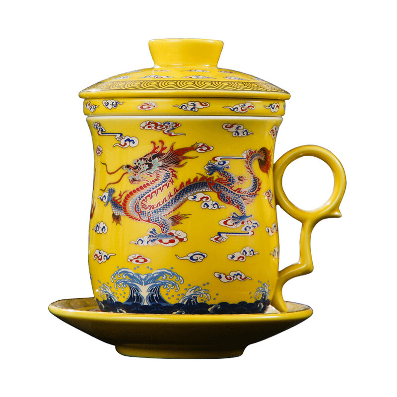 350ml Chinese Style Antique Porcelain Tea Cup & Saucer Sets Yellow Dragon Filter Cup