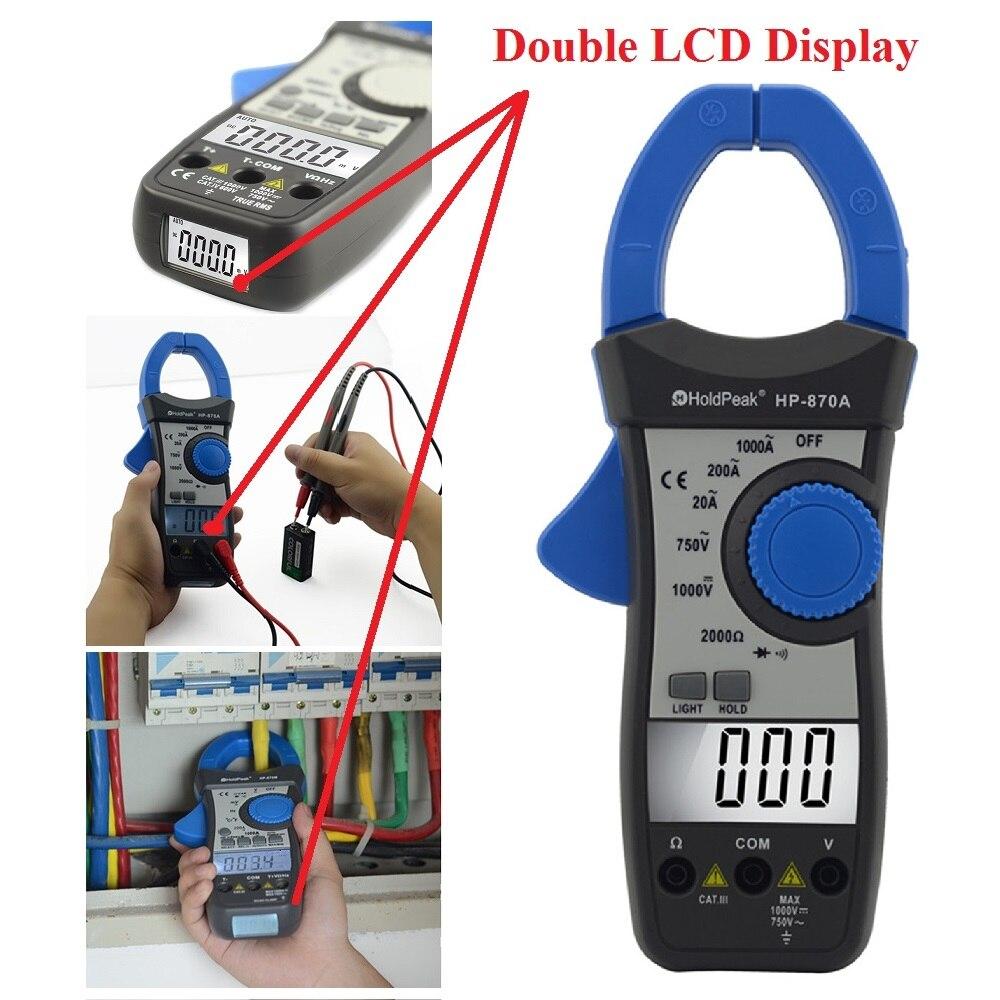 HoldPeak HP-870A DC AC Digital Clamp Meter Multimeter Pinza Amperimetrica Amperimetro Temperature / Diode Test Backlight holdpeak hp 870n auto range dc ac digital clamp meter multimeter amperimetro true rms frequency backlight