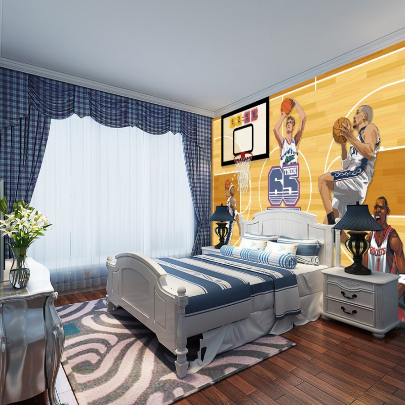 Free Shipping basketball cartoon star characters murals background wall high quality living room bedroom mural wallpaper  free shipping basketball function restaurant background wall waterproof high quality stereo bedroom living room mural wallpaper