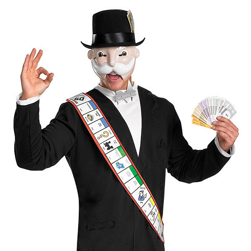 monopolio hombre mscara con sombrero conjunto traje adulto de halloween mscaras blanco barba anciano negro