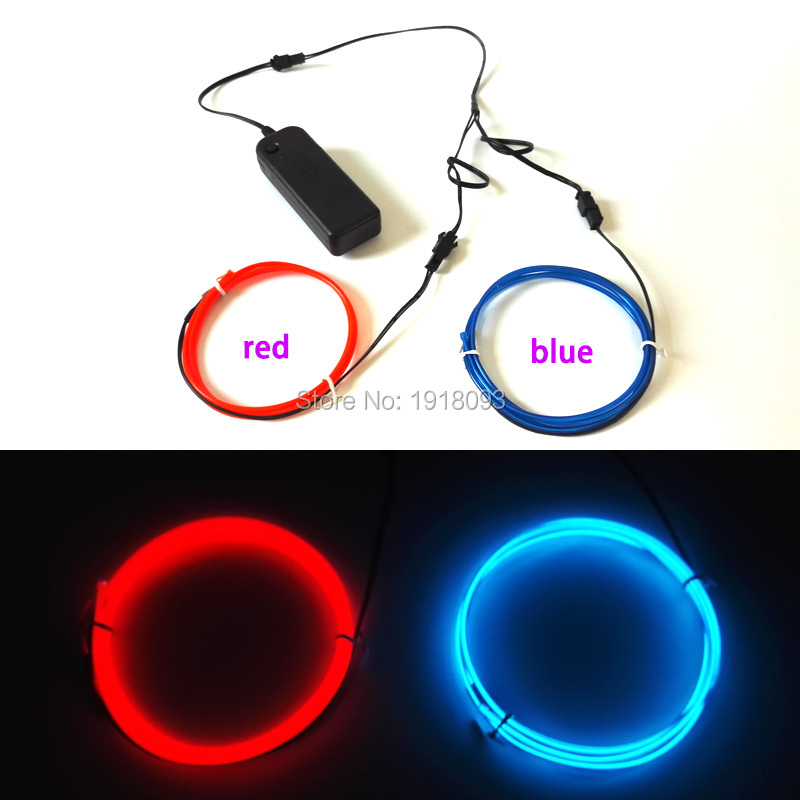 Cheap! Hot 2.3mm 1M 2pieces flexible EL wire Energy saving neon light Rope tube with 3V Drive LED Strip Toys Model Decoration