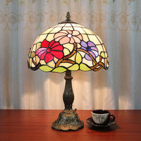 Table Lamp Color Glass Flowers Bedside Lamps Study Desk Lamp Mediterranean 12 Inch Night Lighting Lights