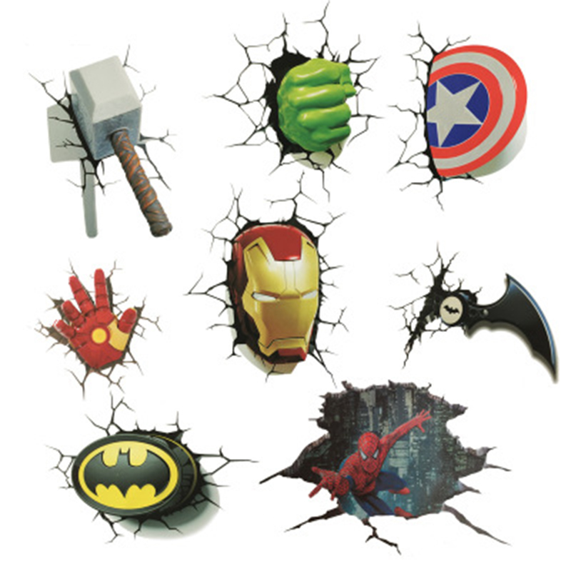 Hot Cool Avengers Stickers Marvel/DC Decals 3d Broken Car Stickers Ironman Spiderman Batman Creative Stickers Decorations