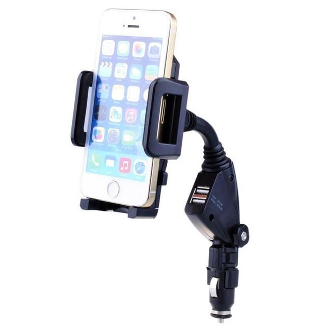 Soporte para teléfono universal ajustable estilo de coche usb cargador de coche encendedor de cigarrillos soporte del teléfono del sostenedor del coche para iphone 5s 6 samsung