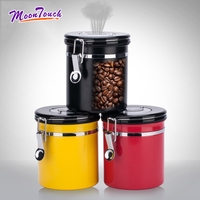 Stainless Steel Coffee Can With Exhaust Valve Storage Tank Coffee Bean Sealed Cans Storage Tanks Storage Jars Dried Fruit Tools