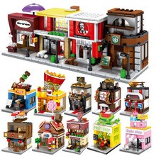 Street View Building Model of Building Block Assembly Toys Street View Children's Toy Coffee Shop Supermarket Street View цены