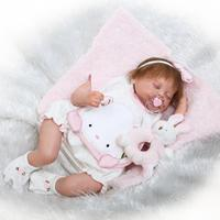 New Designed High end 50cm Silicone Vinyl Sleeping Reborn Baby Doll Hand Rooted Hair and Eyelashes Real Looking Baby Doll Toys