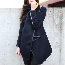 6Color M-XXXL Autumn Women Irregular Wool Windbreaker Slim Solid Outside Coat Long Overcoat Hot Sale