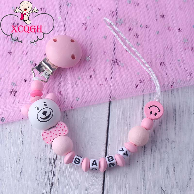 XCQGH Personalized Name Handmade Wooden Cute Bear Pacifier Chain Clip Holder For Infant Baby Shower Gift