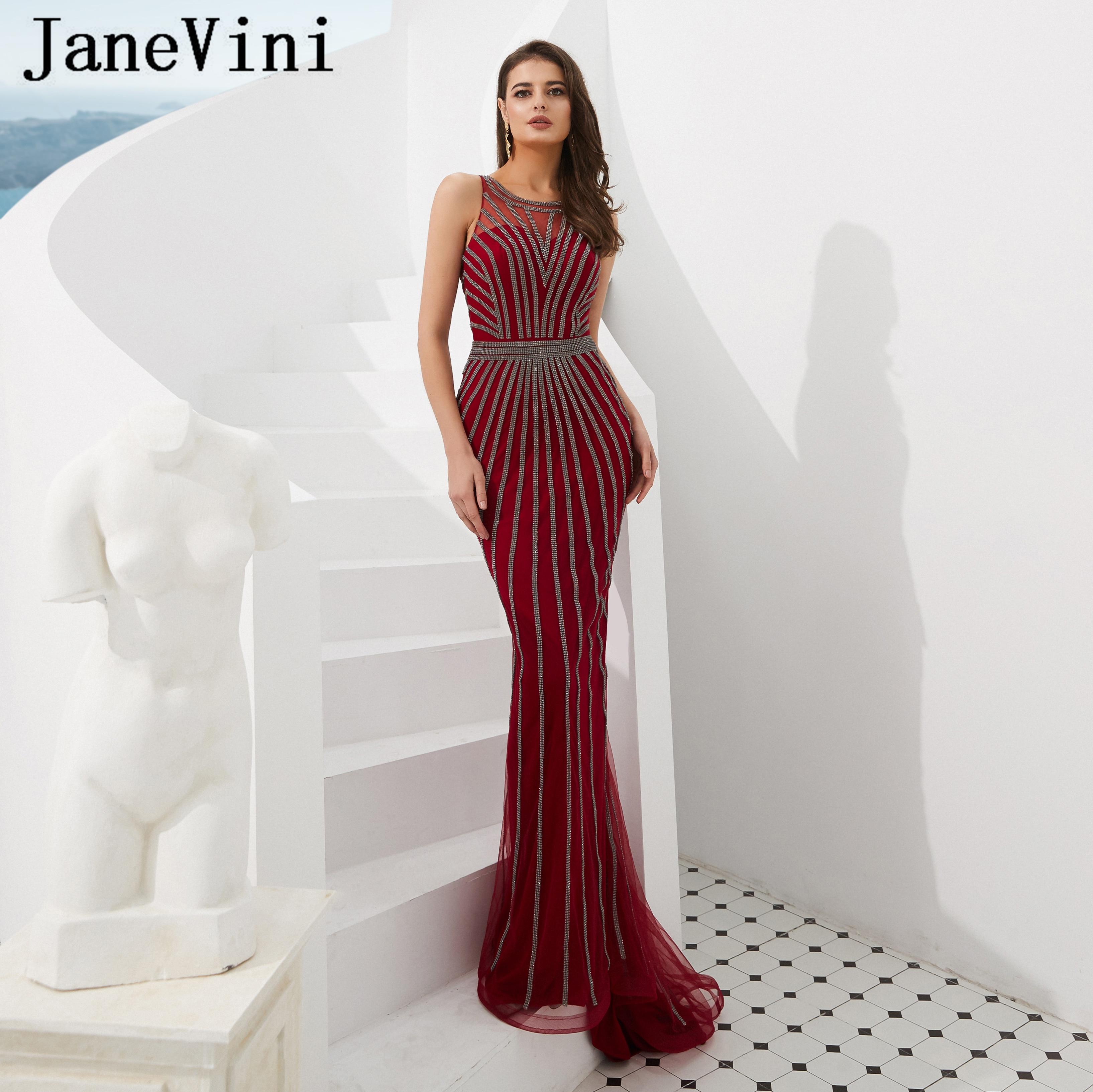 JaneVini 2019 New Arrival Long Burgundy   Prom     Dresses   Luxury Full Beaded Sleeveless Tulle Mermaid Evening Party Gowns Gala Jurken