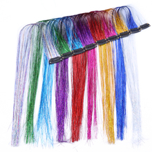 Clip in One Piece Colorful Sparkle Hair 18'' Tinsel Bling Hair Secoration Shiny Hair Tinsel Straight Synthetic Hair Extension стоимость