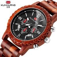 Handmade Wooden Men Watch Wood Luxury Chronograph Wristwatch Quality Quartz Movement Calendar Male Watch Gift reloj hombre