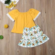 UK Toddler Kids Baby Girl Ruffle T-shirt Top Skirt Dress 2Pcs Outfit Clothes Set