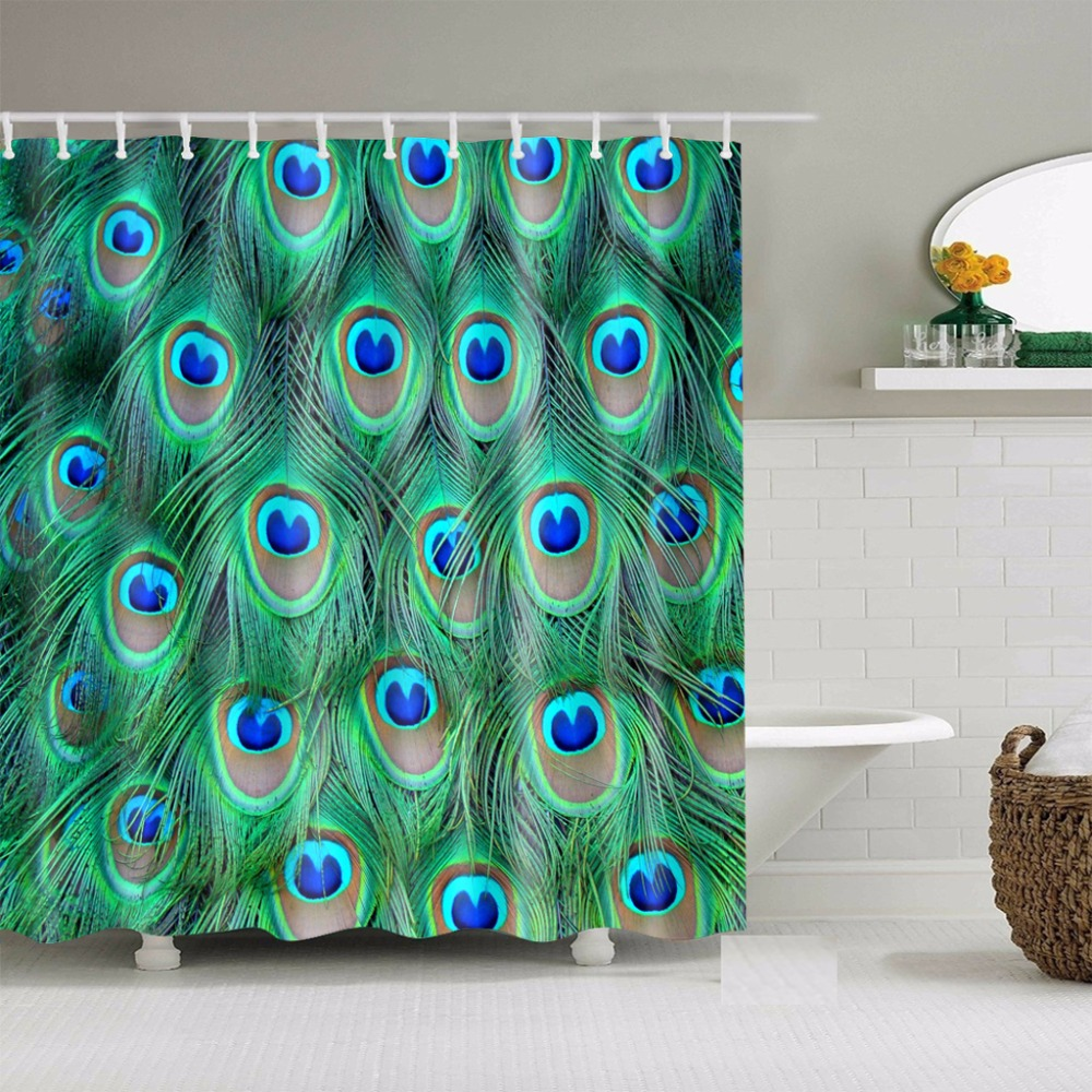 Beautiful Custom Peacock Feather Waterproof Bath Fabric Shower Curtain With Hook