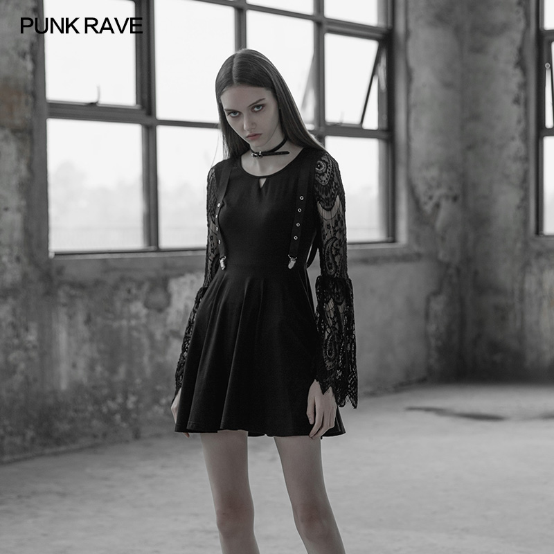 Punk Rave Casual Gothic Lace Sleeves Hollow out V Collar Fake Braces Sexy Mini Women Dress A Line OPQ391