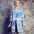 2016 Осень Винер женская Мода Взлетно-Посадочной Полосы Траншеи Китайский Стиль Vintage Голубой и Белый Фарфор Отпечатано Свободные Пальто Плюс Размер XXL