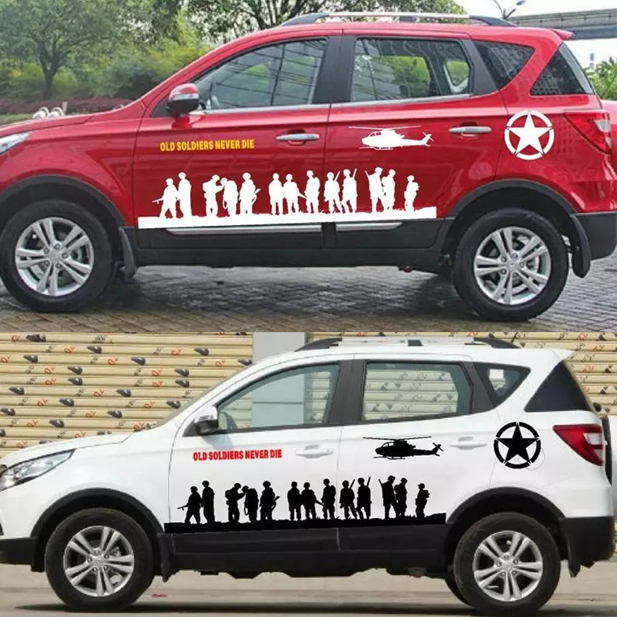 Car full body sticker design - Modified Vehicle Applique Full Car Body Garland Decorative Body Decals Car Stickers Army Soldier Band Of