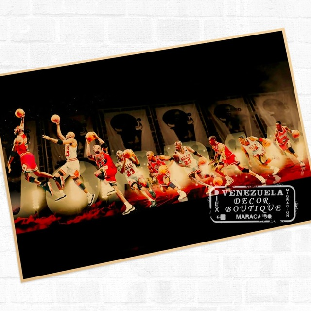 Michael Jordan Wall Mural Poster Decorative DIY Wall Stickers Home Posters  Bar Art Decor Part 62