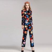 2017 Autumn Winter Women S Pants 2 Piece Clothing Set High Quality Runway Sets Retro Print