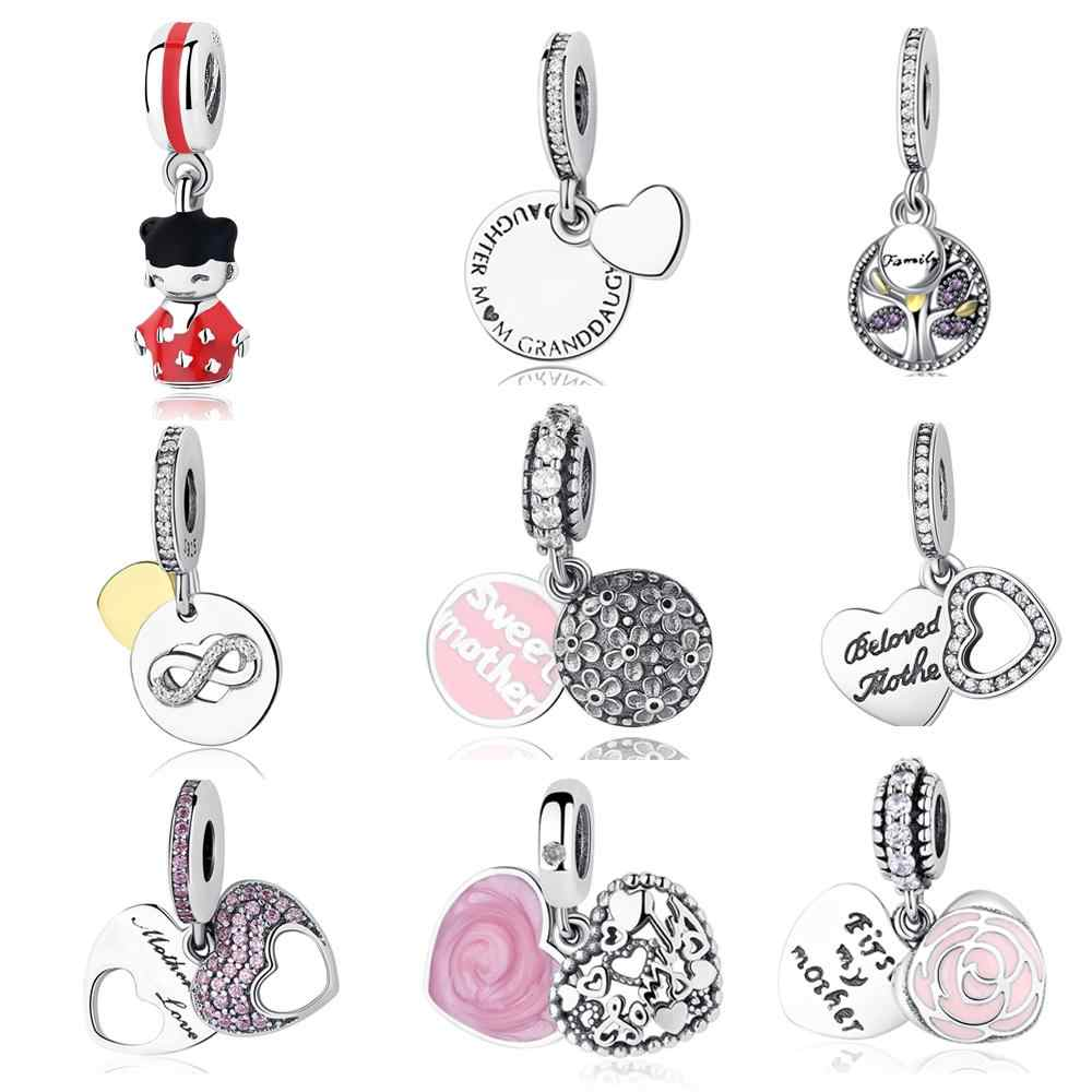 fdcaefdde Authentic S925 Sterling Silver Family Treed Heritage Charm Beads Fit  Original Pandora Bracelet Pendant Luxury DIY