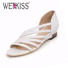 WETKISS Roman low wedge heel casual dress summer shoes sandals for women Fashion 2016 New Shoes Big size 34-43 Women's Sandals