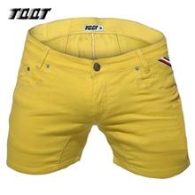TQQT мужские шорты моды джинсовые шорты тонкий стретч короткие прямые короткие мужские с низкой талией омывается твердые сращены короткие джинсы 5P0602