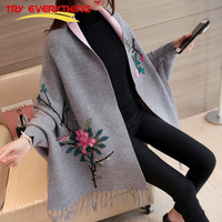 TryEverything Embroidery Poncho Femme With Flowers Batwing Sleeve 2017 Winter Cashmere Sweater Long Cardigan Women Coat
