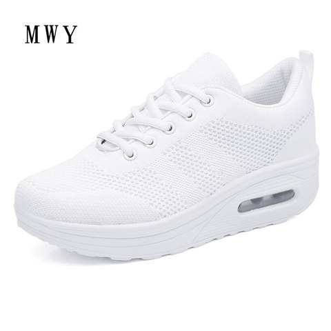 MWY Women Casual Platform Shoes Fashion High Heels Shoes Woman Wedges Women White Sneakers Shoes Heigh Increasing zapatos mujer Lahore