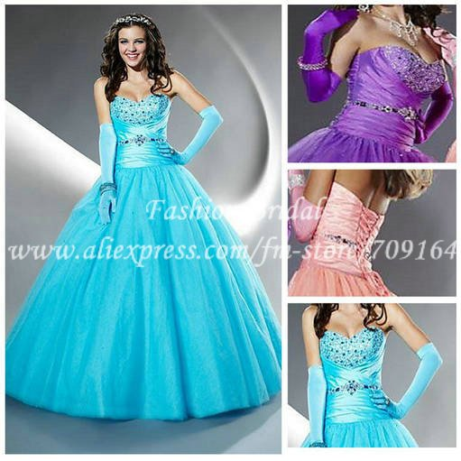 22d66822b Custom Ball Gown Sweetheart Purple Turquoise Blue Organza Quinceanera  Dresses 2014 Corset Long GW189