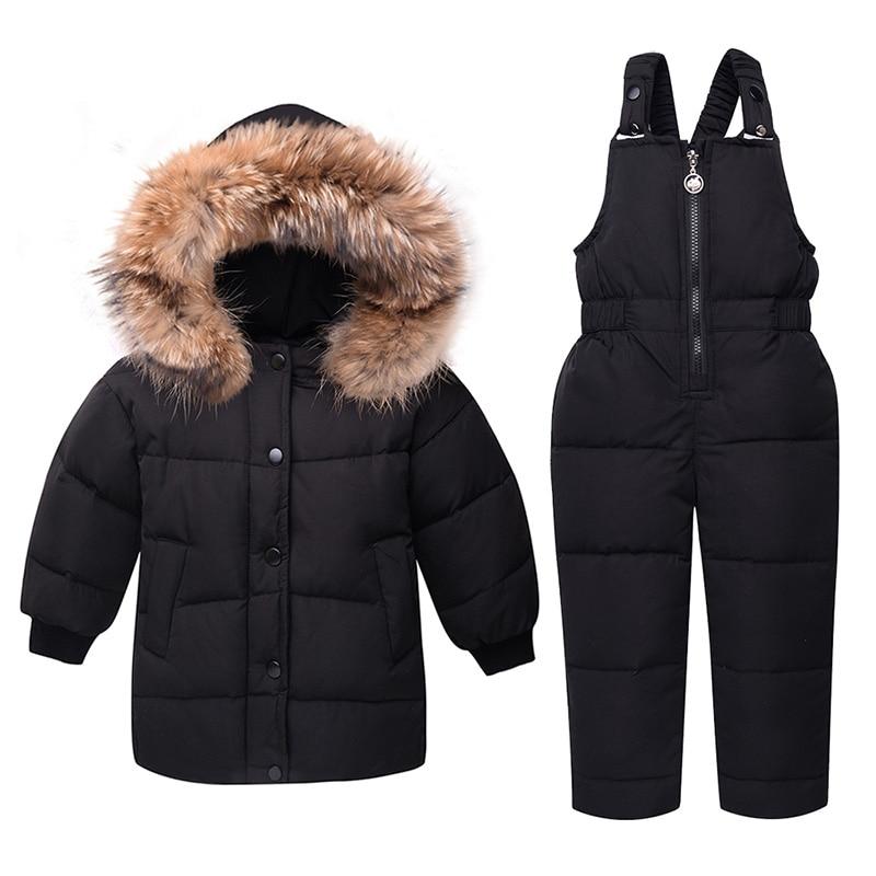 2019 hiver doudoune ensemble enfants vêtements épais enfants filles vêtements manteaux + salopette 2 pièces ensembles bébé garçons Snowsuit vêtements d'extérieur
