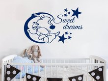 Wall Decals Quote Sweet Dreams Moon and Stars Vinyl Sticker Lettering Bear Sleep Deca Nursery Art Boys Bedroom Deco