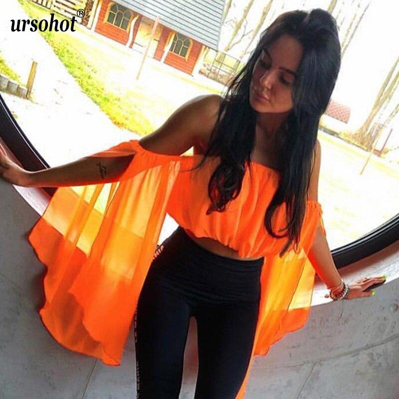 Ursohot Off Shoulder Long Sleeve Chiffon   Blouse     Shirts   For Women 2019 Summer Slash Neck Neon Crop Tops Beach Party Lady Blusas