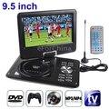 10pcs/lot  EVD player 9.5 Inch Screen Portable DVD PLAYER 270Degree Rotating GAME Analog TV CD MP4,USB/SD Player dvd portatil