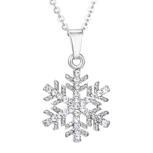 Christmas Gift Luxury Silver Crystal Snowflake Necklaces   Pendants Jewelry Snow  Flower Rhinestone Necklace for Women Jewelry 39e2c1f7fff1