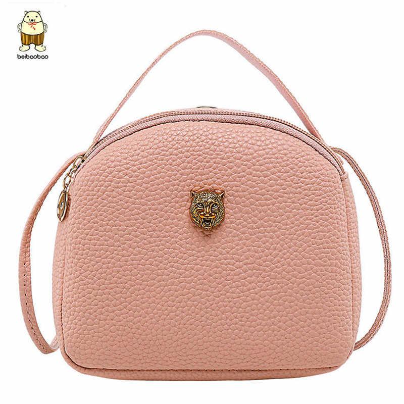 Beibaobao 2019 ファッション PU レザークロスボディミニショルダーバッグ女性のハンドバッグのメッセンジャーバッグ女性女性の王冠タイガーヘッド財布