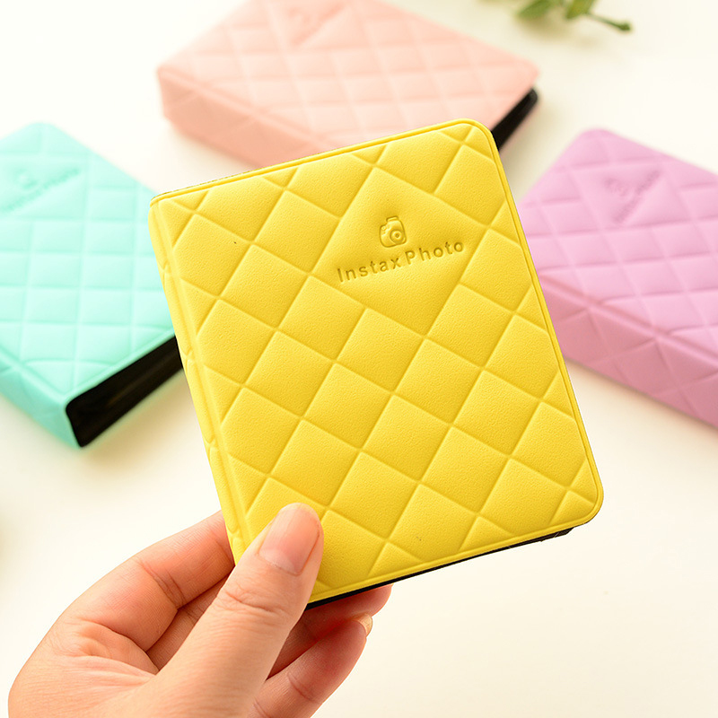 3 Inch 36 Page Macaron Credit Card Storage Case PVC Diamond Photo Album Insert Style Colorful Card Holder 3 Inch Photo Organizer