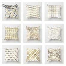 Fuwatacchi Bronzing Cushion Cover Golden White  Soft Throw Pillow Decorative Sofa Case Pillowcase